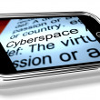 Stock Photo: Cyberspace On Mobile Phone Shows Internet Connection