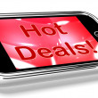 Hot Deals On Mobile Screen Represents Discounts Online — Stock Photo #11843676