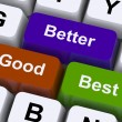 Good Better Best Keys Represent Ratings And Improvement — Stock Photo
