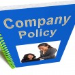 Company Policy Book Shows Rules For Employees - Stock Photo