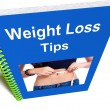 Stock Photo: Weight Loss Tips Book Shows Diet Advice