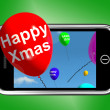 Balloons Floating From Mobile Phone With Happy Xmas — Stock Photo