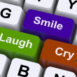 Stock Photo: Laugh Cry Smile Keys Represent Different Emotions