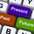 Past Present And Future Keys Show Evolution Or Aging - Stock Photo