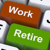 Work Or Retire Signpost Shows Choice Of Working Or Retirement — Stock Photo