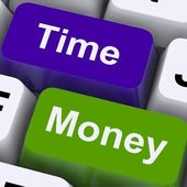 Time Money Keys Show Hours Are More Important Than Wealth — Stock Photo