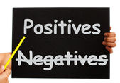 Negatives Positives Board Shows Analysis Or Plusses — Stock Photo