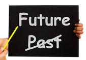 Past And Future Board Shows Destiny Or Progress — Stock Photo