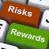 Risico's beloningen sleutels toon uitbetaling of roi — Stockfoto