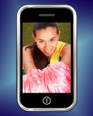 Smiling Cheerleader Picture On Mobile Phone — Stock Photo