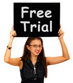 Free Trial Board Shows Special Offer Promotion — Stock Photo