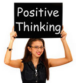 Positive Thinking Sign Shows Optimism Or Belief — Stock Photo