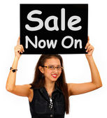 Sale Now On Sign Shows Discounts And Reductions — Stock Photo