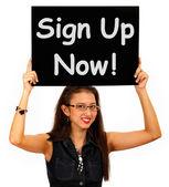 Sign Up Now Message Shows Immediate Registration — Zdjęcie stockowe
