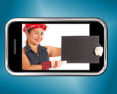 Construction Worker Holding Blank Board On Mobile Phone — Stock fotografie