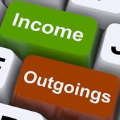Income Outgoings Keys Show Budgeting And Bookkeeping — Stock Photo