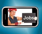 Jobb skylten med byggnadsarbetare visar karriärer online — Stockfoto