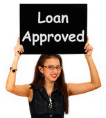Loan Approved Sign Shows Credit Agreement Ok — Stock Photo