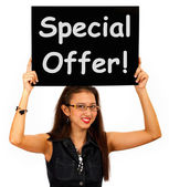 Special Offer Board Shows Discount Bargain Product — Foto de Stock