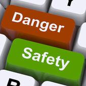 Danger et sécurité clés affiche attention et dangers — Photo