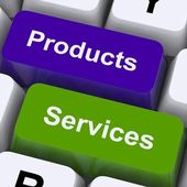 Products And Services Keys Show Selling And Buying Online — Stock Photo