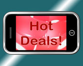 Hot Deals Mobile Message Represents Discounts Online — Stock Photo