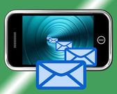 Email Envelopes On Mobile Showing Emailing Or Contacting — Stock Photo