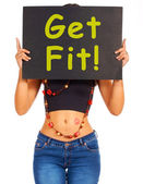 Get Fit Sign Showing Exercise For Fitness — Stock Photo