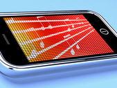 Simboli di musica su un cellulare spettacoli radio online — Foto Stock