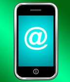 Mobile With At Sign For Emailing Or Contacting — Stock Photo