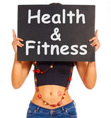 Health And Fitness Sign Shows Exercise For Getting Healthy — Stock Photo