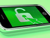 Unlocked Padlock Mobile Phone Shows Access Or Protected — Stock Photo