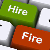 Hire Fire Keys Shows Human Resources Or Recruitment — Stock Photo