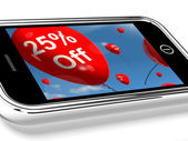 Mobile With 25% Off Sale Promotion Balloons — Stock Photo