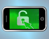 Unlocked Padlock Mobile Phone Shows Access Or Protection — Stock Photo