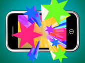Bursting Stars From Mobile Phone — Stock Photo