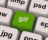 Gif Key Shows Image Format For Internet Pictures — Stock Photo