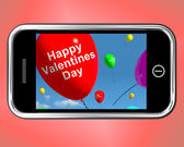 Happy Valentines Day Balloons On Mobile Show Love — Stock Photo