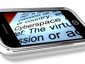 Cyberspace On Mobile Phone Shows Internet Connection — Stock Photo