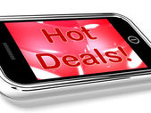 Hot Deals On Mobile Screen Represents Discounts Online — Stock Photo