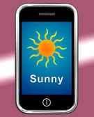 Mobile Phone Shows Sunny Weather Forecast — Stock Photo