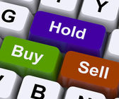 Buy Hold And Sell Keys Represent Market Strategy — Stock Photo