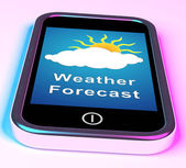 Mobile Phone Shows Cloudy Sun Weather Forecast — Stock Photo