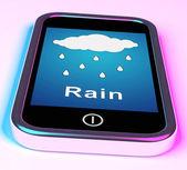 Mobile Smartphone Shows Rain Weather Forecast — Stock Photo