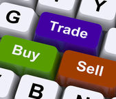 Buy Trade And Sell Keys Represent Commerce Online — Stock Photo
