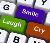Laugh Cry Smile Keys Represent Different Emotions — Stock Photo