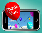 Thank You Balloons Message As Thanks Sent On Mobile — Stock Photo