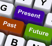 Past Present And Future Keys Show Evolution Or Aging — Stock Photo