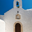 Entrance into the traditional white church, Greece — Stock Photo