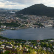 Stock Photo: View of Bergen from Mount Floyen in cloudy weather, Norway